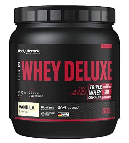 Body Attack Extreme Whey Deluxe, Vaniglia, proteina in polvere con aminoacidi e Triplo-Whey-Complex con Whey Isolate, a basso contenuto di zuccheri e di grassi, lattina da 2,3 kg, Made in Germany