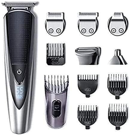 HATTEKER Grooming Kit Regolabarba Uomo Tagliacapelli Professionale Barba e Capelli Rifinitore Corpo/Naso/Orecchie