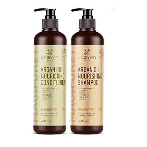 Olio di argan shampoo e balsamo set (2 x 479,1 gram) - Magiforet Organic shampoo e balsamo senza solfati - morbido e liscio, Gentle on Curly & color Treated Hair, per uomini e donne