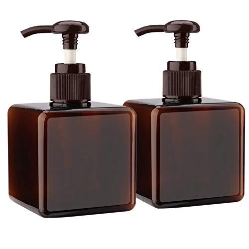 Alledomain - 2 flaconi vuoti da 250 ml, ricaricabili, in plastica per lozioni, shampoo, bagnoschiuma, contenitore quadrato, per articoli da toeletta, Marrone (Marrone) - #1 250ml pump bottle