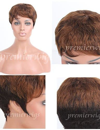 Parrucca alla moda Wigstyle premierwigs grossista 8a doppia tonalità brasiliana puro capelli umani capless corti capelli ricci per donne nere