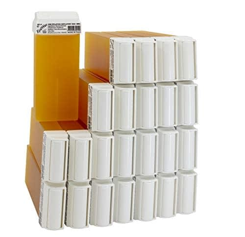 Epilwax Set da 24 miele Rulli Cera per Depilazione - Larghezza 100 ml Roll-on Ricarica Cera
