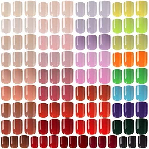 888 Pezzi Unghie Finte Corte Colorate Unghie Finte Artificiali Quadrate Unghie Finte Bara Copertina Completa da Premere Unghie Acrilici Artificiali a Copertura Totale (Colori Chiari)