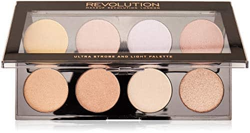 MAKEUP REVOLUTION Ultra Strobe and Light Palette – Highlighter con 8 sfumature – vegano, senza glutine e senza animali – 15 g