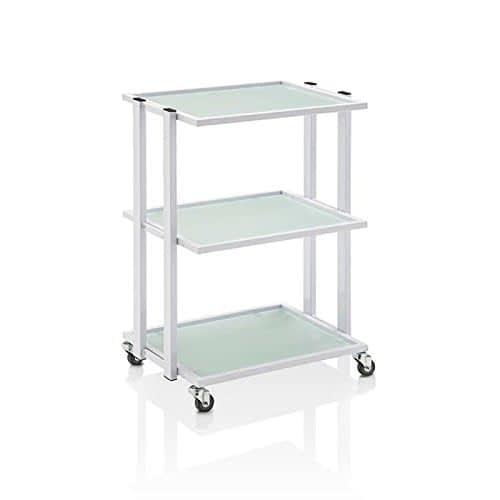 Carrello estetica porta oggetti 3 piani in vetro, colore bianco, Premium 200